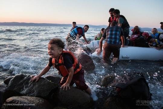 Greece. Syrian refugees arrive on Lesbos
